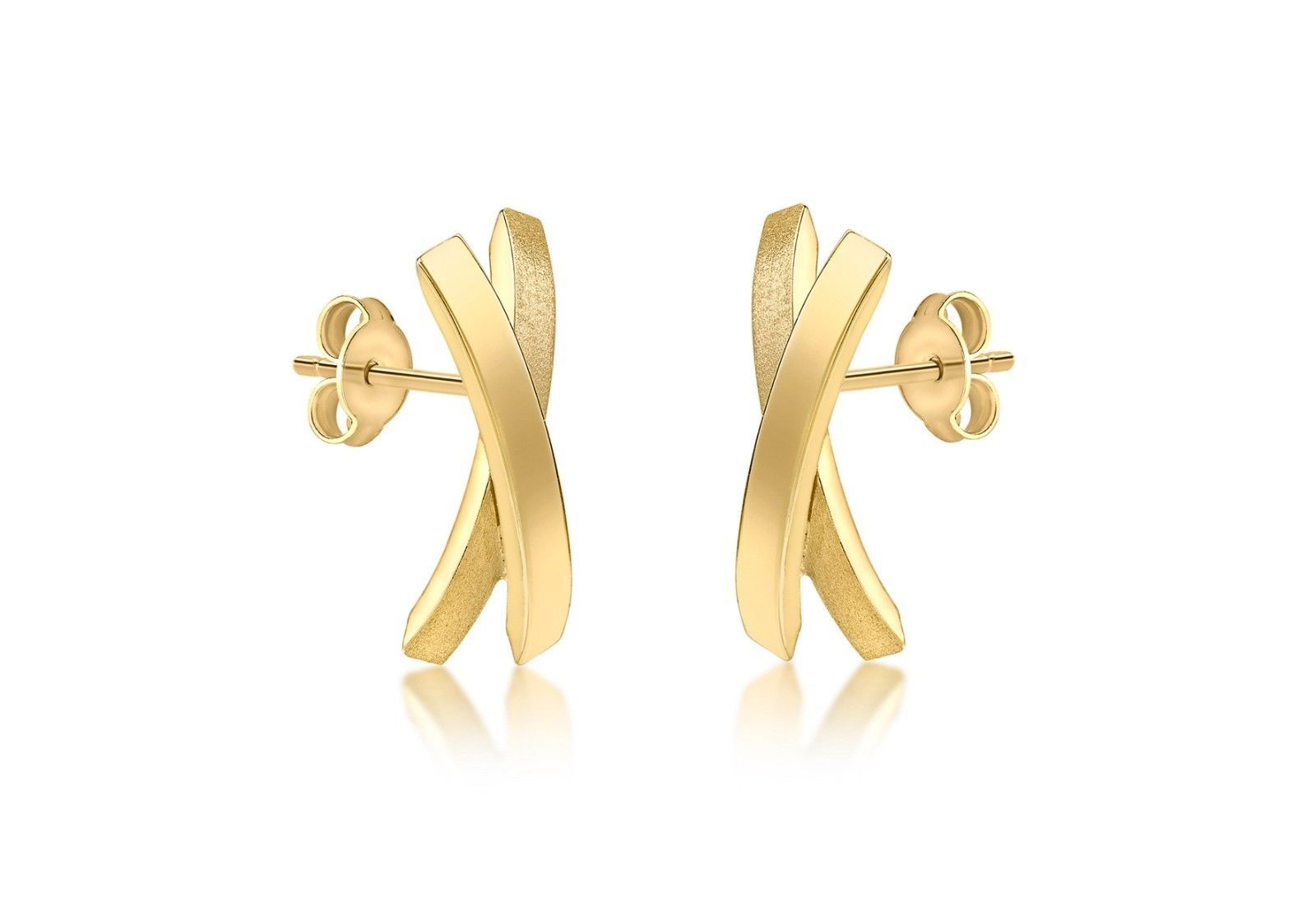 1301fa560 9ct Yellow Gold Kiss X Stud earrings with a Satin and Plain Finish 8469